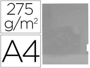 SUBCARPETA CARTULINA GIO PLASTIFICADA PRESENTACION 2 SOLAPAS DIN A4 PLATA 275G/M2