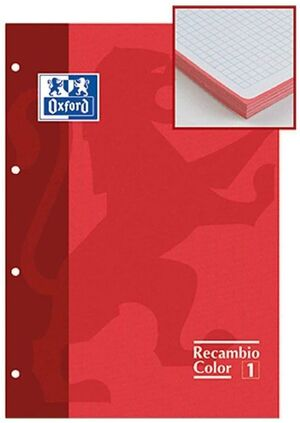 RECAMBIO OXFORD ROJO A4 5X5 MM 80 HJ 90 GR