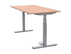 MESA ROCADA REGULABLE EN ALTURA ELECTRICAMENTE HASTA 129 CM ESTRUCTURA DE ACERO TABLERO 160 CM COLOR ROBLE
