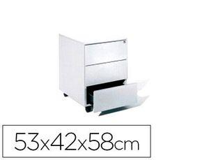 CAJONERA METALICA ROCADA CON TRES CAJONES SERIE STORE 58X40X59,5 CM ACABADO AC13 BLANCO/BLANCO