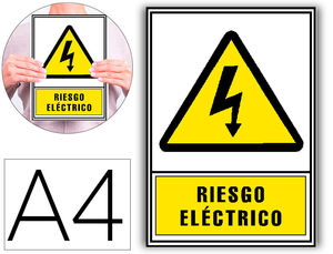 PICTOGRAMA ARCHIVO 2000 RIESGO ELECTRICO PVC AMARILLO LUMINISCENTE 210X297 MM