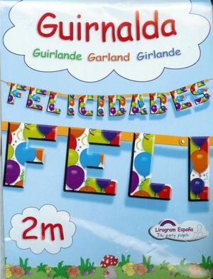 GUIRNALDA PAPEL FELICIDADES GLOBOS 2 METROS