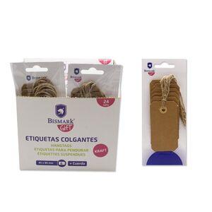 ETIQUETAS COLGANTES KRAFT BISMARK 4,5X8,5 CM PAQ 6 UD