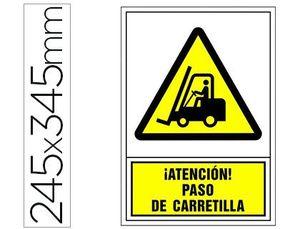 PICTOGRAMA SYSSA SEÑAL DE ADVERTENCIA ATENCION! PASO DE CARRETILLA EN PVC 245X345 MM