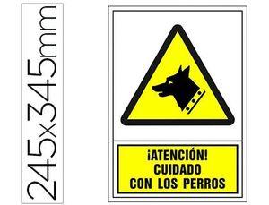 PICTOGRAMA SYSSA SEÑAL DE ADVERTENCIA ATENCION! CUIDADO CON LOS PERROS EN PVC 245X345 MM
