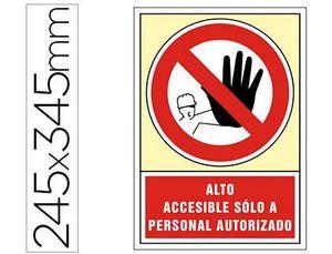 PICTOGRAMA SYSSA SEÑAL DE PROHIBICION ALTO ACCESIBLE SOLO A PERSONAL AUTORIZADO EN PVC 245X345 MM