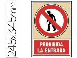 PICTOGRAMA SYSSA SEÑAL DE PROHIBICION PROHIBIDA LA ENTRADA EN PVC 245X345 MM