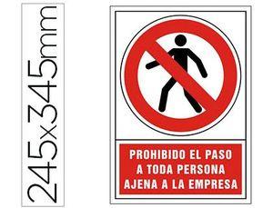 PICTOGRAMA SYSSA SEÑAL DE PROHIBICION PROHIBIDO EL PASO A TODA PERSONA AJENA A LA EMPRESA EN PVC 245