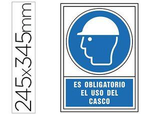 PICTOGRAMA SYSSA SEÑAL DE OBLIGACION ES OBLIGATORIO EL USO DE CASCO EN PVC 245X345 MM