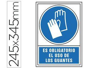 PICTOGRAMA SYSSA SEÑAL DE OBLIGACION ES OBLIGATORIO EL USO DE LOS GUANTES EN PVC 245X345 MM