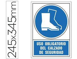 PICTOGRAMA SYSSA SEÑAL DE OBLIGACION USO OBLIGATORIO DEL CALZADO DE SEGURIDAD EN PVC 245X345 MM