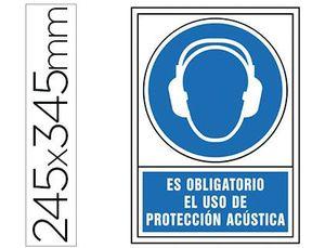 PICTOGRAMA SYSSA SEÑAL DE OBLIGACION ES OBLIGATORIO EL USO DE PROTECCION ACUSTICA EN PVC 245X345 MM