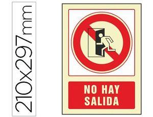 PICTOGRAMA SYSSA SEÑAL DE NO HAY SALIDA EN PVC FOTOLUMINISCENTE 210X297 MM
