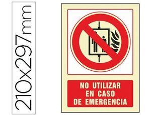 PICTOGRAMA SYSSA SEÑAL DE NO UTILIZAR EN CASO DE INCENDIO EN PVC FOTOLUMINISCENTE 210X297 MM