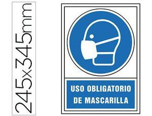 PICTOGRAMA SYSSA SEÑAL DE OBLIGACION USO OBLIGATORIO DE MASCARILLA EN PVC 245 X 345 MM