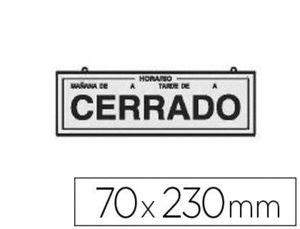 LETRERO METALICO SERIGRAFIADO ABIERTO Y CERRADO CON HORARIO Y CADENA PARA COLGAR 230X70 MM PLATA