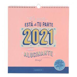 CALENDARIO DE PARED MR WONDERFUL RASCA RASCA 2021 LA SUERTE ESTA DE TU PARTE