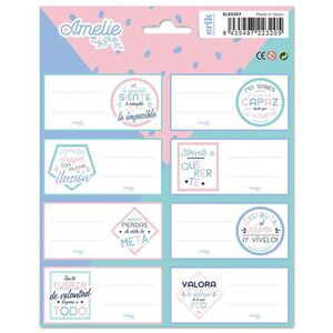 BLISTER 16 ETIQUETAS ADHESIVAS ESCOLARES AMELIE PASTEL COLLECTION