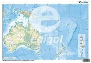 MAPA MUDO COLOR OCEANIA FISICO