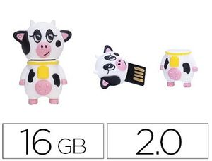 MEMORIA USB TECHONETECH FLASH DRIVE 16 GB 2.0 PACA LA VACA