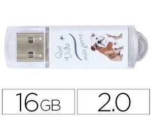 MEMORIA USB TECHONETECH FLASH DRIVE 16 GB 2.0 QUE VIDA MAS PERRA