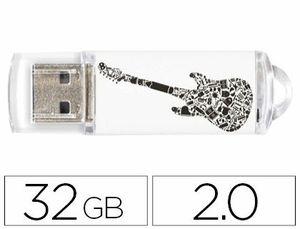 MEMORIA USB TECHONETECH FLASH DRIVE 32 GB 2.0 CRAZY BLACK GUITAR