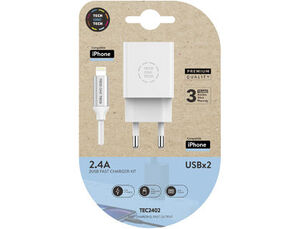 CARGADOR TECH ONE TECH 2.4 DOBLE USB + CABLE BRAIDED NYLON MICRO USB APPLE LONGITUD 1 MT COLOR BLANC