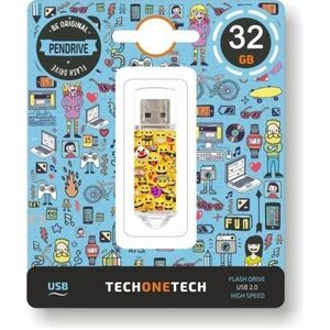 MEMORIA USB TECHONETECH FLASH DRIVE 32 GB 2.0 EMOJIS