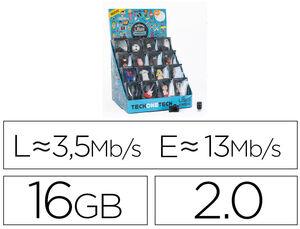 MEMORIA TECHONETECH FANTASIA 3D 16 GB USB 2.0 EXPOSITOR DE 16 UNIDADES SURTIDAS