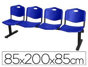 BANCADA Q-CONNECT DE ESPERA ESTRUCTURA HIERRO NEGRO CUATRO ASIENTOS Y RESPALDO PVC 850X2000X420 MM A