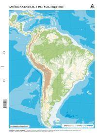 MAPA AMERICA CENTRAL Y SUR FISICO MUDO