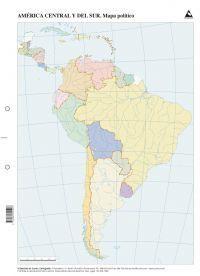MAPA AMERICA CENTRAL Y SUR POLITICO MUDO