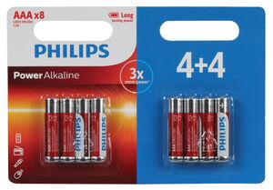 PILA LR03 POWER ALKALINE PHILIPS AAA BLISTER 8 UD