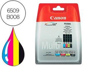 INK-JET CANON 551 C/M/Y/BK PIXMA IP8750 / IX6850 / MG5550 / MG6450 / MG7150 / MX725 / MX925 PACK 4 C