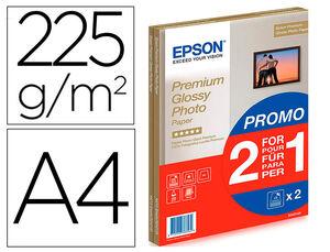 PAPEL FOTOGRAFICO EPSON PREMIUN GLOSSY PHOTO SATINADO DIN A4 PROMO 2 X 15 HOJAS 225 GR