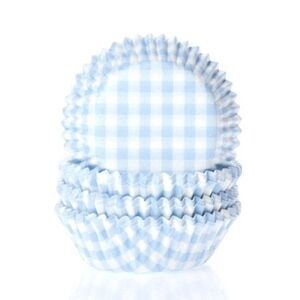 BAKING CUPS GINGHAM BABY BLUE 50X33 MM