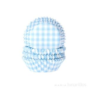 MINI BAKING CUPS GINGHAM BABY BLUE 35X23 MM  PAQ. 60 UDS.