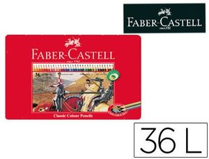 LAPICES DE COLORES FABER CASTELL CAJA METALICA DE 36 COLORES SURTIDOS