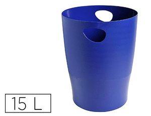 PAPELERA PLASTICO EXACOMPTA ECOBLACK AZUL 15 LITROS
