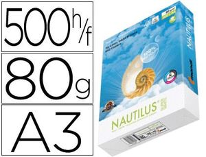 PAPEL FOTOCOPIADORA NAUTILUS SUPERWHITE 100% RECICLADO DIN A3 80 GRAMOS PAQUETE DE 500 HOJAS