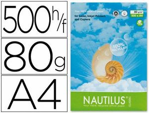 PAPEL RECICLADO NAUTILUS A4 80 GR PAQUETE 500 HJ