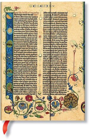LIBRETA PAPERBLANKS RAYADA MIDI T/D GUTENBERG BIBLE GENESIS