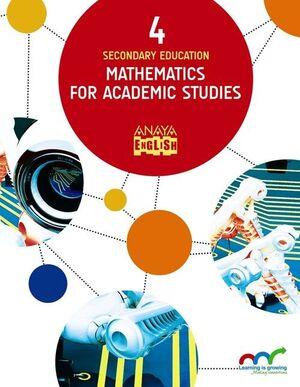 MATHEMATICS FOR ACADEMIC STUDIES 4, 4 EDUCACIÓN SECUNDARIA OBLIGATORIA, LIBRO DEL ALUMNO