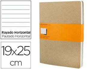 LIBRETA MOLESKINE TAPA DURA RAYADO HORIZONTAL 120 HOJAS 16HOJAS DESMONTABLES COLOR KRAFTPACK DE 3 UN